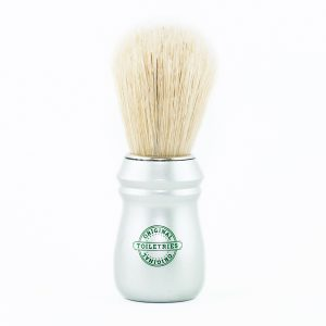 shaving-brush-pure-bleached-bristle-satin-silver-plastic-handle