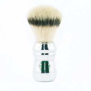 Shaving-brush-synthetic-ecosilvertip-bristle-shiny-aluminum-handle